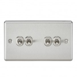Knightsbridge CLTOG4BC 10A 4G 2 Way Toggle Switch - Rounded Brushed Chrome Finish