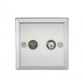Knightsbridge CV014PC TV & SAT TV Outlet (isolated) - Bevelled Edge Polished Chrome