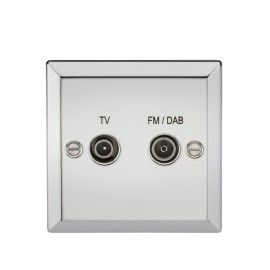 Knightsbridge CV016PC Diplex TV & FM DAB Outlet - Bevelled Edge Polished Chrome