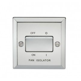 Knightsbridge CV11PC 10A 3 Pole Fan Isolator Switch - Bevelled Edge Polished Chrome