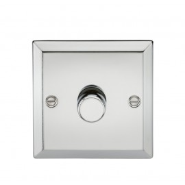 Knightsbridge CV2171PC 1G 2 Way 40-400W Dimmer - Bevelled Edge Polished Chrome