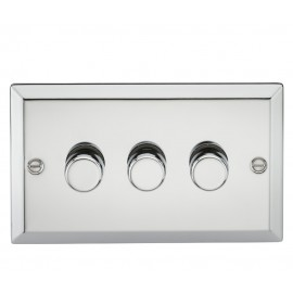 Knightsbridge CV2173PC 3G 2 Way 40-400W Dimmer - Bevelled Edge Polished Chrome
