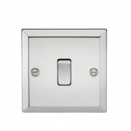 Knightsbridge CV2PC 10A 1G 2 Way Plate Switch - Bevelled Edge Polished Chrome