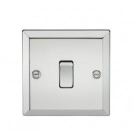 Knightsbridge CV2PC 10A 1G 2 Way Plate Switch - Bevelled Edge Polished Chrome
