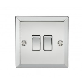 Knightsbridge CV3PC 10A 2G 2 Way Plate Switch - Bevelled Edge Polished Chrome