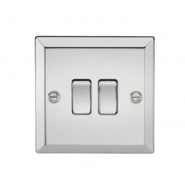 Knightsbridge CV3PC 10A 2G 2 Way Plate Switch - Bevelled Edge Polished Chrome