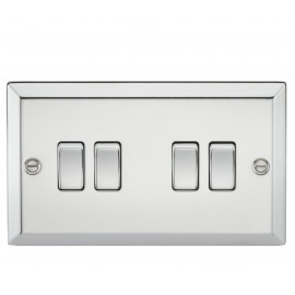 Knightsbridge CV41PC 10A 4G 2 Way Plate Switch - Bevelled Edge Polished Chrome