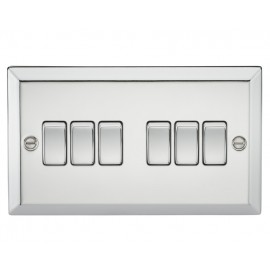 Knightsbridge CV42PC 10A 6G 2 Way Plate Switch - Bevelled Edge Polished Chrome