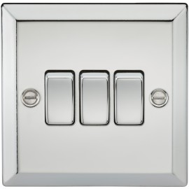 Knightsbridge CV4PC 10A 3G 2 Way Plate Switch - Bevelled Edge Polished Chrome
