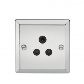 Knightsbridge CV5APC 5A Unswitched Socket with Black Insert - Bevelled Edge Polished Chrome