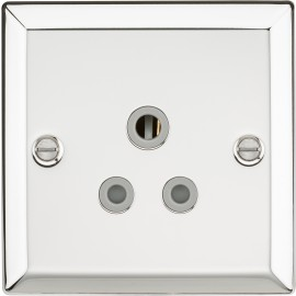 Knightsbridge CV5APCG 5A Unswitched Socket with Grey Insert - Bevelled Edge Polished Chrome