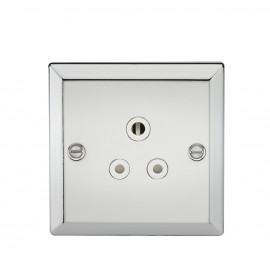 Knightsbridge CV5APCW 5A Unswitched Socket with White Insert - Bevelled Edge Polished Chrome
