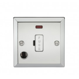 Knightsbridge CV6FPC 13A Fused Spur Unit with Neon & Flex Outlet - Bevelled Edge Polished Chrome