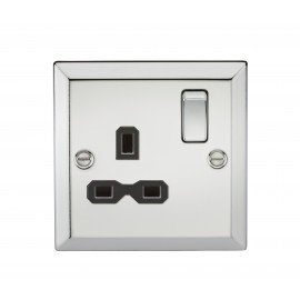 Knightsbridge CV7PC 13A 1G DP Switched Socket with Black Insert - Bevelled Edge Polished Chrome