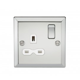 Knightsbridge CV7PCW 13A 1G DP Switched Socket with White Insert - Bevelled Edge Polished Chrome