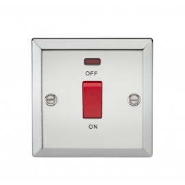 Knightsbridge CV81NPC 45A DP Switch with Neon (single size) - Bevelled Edge Polished Chrome