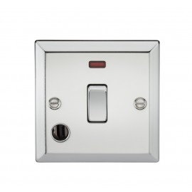 Knightsbridge CV834FPC 20A 1G DP Switch with Neon & Flex Outlet - Bevelled Edge Polished Chrome