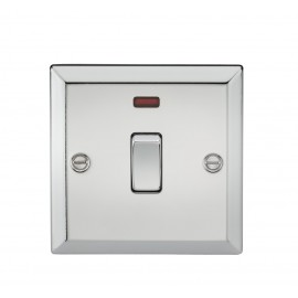 Knightsbridge CV834NPC 20A 1G DP Switch with Neon - Bevelled Edge Polished Chrome
