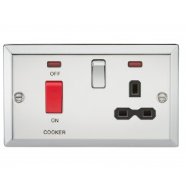Knightsbridge CV83PC 45A DP Cooker Switch & 13A Switched Socket with Neons & Black Insert - Bevelled Edge Polished Chrome