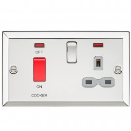 Knightsbridge CV83PCG 45A DP Cooker Switch & 13A Switched Socket with Neons & Grey Insert - Bevelled Edge Polished Chrome