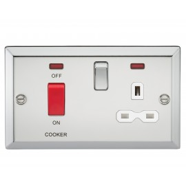 Knightsbridge CV83PCW 45A DP Cooker Switch & 13A Switched Socket with Neons & White Insert - Bevelled Edge Polished Chrome