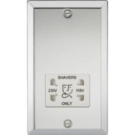 Knightsbridge CV89PCW 115-230V Dual Voltage Shaver Socket with White Insert - Bevelled Edge Polished Chrome