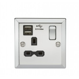 Knightsbridge CV91PC 13A 1G Switched Socket Dual USB Charger Slots with Black Insert - Bevelled Edge Polished Chrome