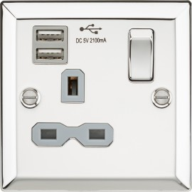 Knightsbridge CV91PCG 13A 1G Switched Socket Dual USB Charger Slots with Grey Insert - Bevelled Edge Polished Chrome