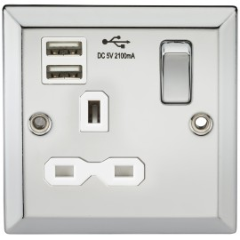 Knightsbridge CV91PCW 13A 1G Switched Socket Dual USB Charger Slots with White Insert - Bevelled Edge Polished Chrome