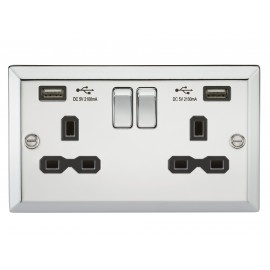 Knightsbridge CV92PC 13A 2G Switched Socket Dual USB Charger Slots with Black Insert - Bevelled Edge Polished Chrome
