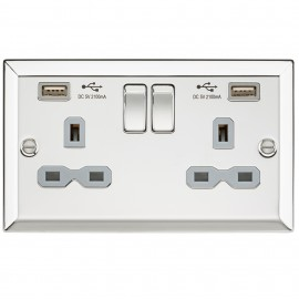 Knightsbridge CV92PCG 13A 2G Switched Socket Dual USB Charger Slots with Grey Insert - Bevelled Edge Polished Chrome