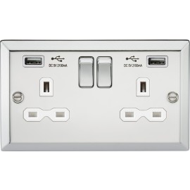 Knightsbridge CV92PCW 13A 2G Switched Socket Dual USB Charger Slots with White Insert - Bevelled Edge Polished Chrome