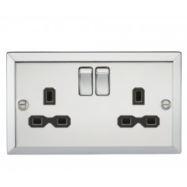 Knightsbridge CV9PC 13A 2G DP Switched Socket with Black Insert - Bevelled Edge Polished Chrome