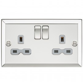 Knightsbridge CV9PCG 13A 2G DP Switched Socket with Grey Insert - Bevelled Edge Polished Chrome