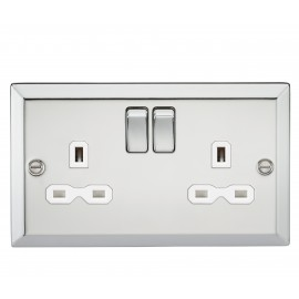 Knightsbridge CV9PCW 13A 2G DPSwitched Socket with WhiteInsert - Bevelled Edge Polished Chrome