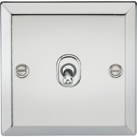 Knightsbridge CVTOG1PC 10A 1G 2 Way Toggle Switch - Bevelled Edge Polished Chrome