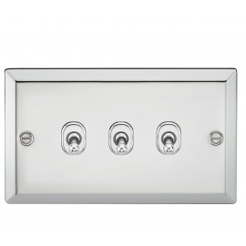 Knightsbridge CVTOG3PC 10A 3G 2 Way Toggle Switch - Bevelled Edge Polished Chrome