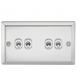 Knightsbridge CVTOG4PC 10A 4G 2 Way Toggle Switch - Bevelled Edge Polished Chrome