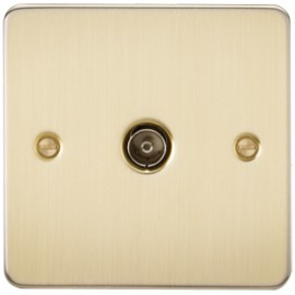 Knightsbridge FP0100BB 1G TV Coax Outlet Non-Isolated Brushed Brass