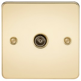 Knightsbridge FP0100PB 1G TV Coax Outlet Non-Isolated Polished Brass