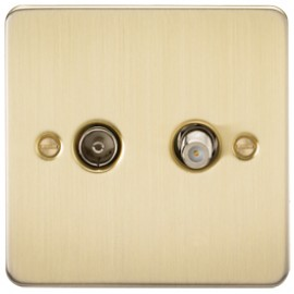 Knightsbridge FP0140BB 1G Sat/TV Outlet Isolated Brushed Brass