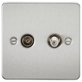 Knightsbridge FP0140BC 1G Sat/TV Outlet Isolated Brushed Chrome