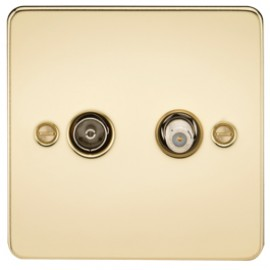 Knightsbridge FP0140PB 1G Sat/TV Outlet Isolated Polished Brass