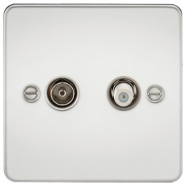 Knightsbridge FP0140PC 1G Sat/TV Outlet Isolated Polished Chrome