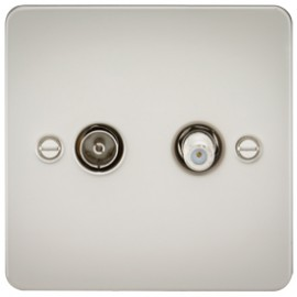 Knightsbridge FP0140PL 1G Sat/TV Outlet Isolated Pearl