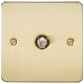 Knightsbridge FP0150BB 1G Sat/TV Outlet Non-Isolated Brushed Brass