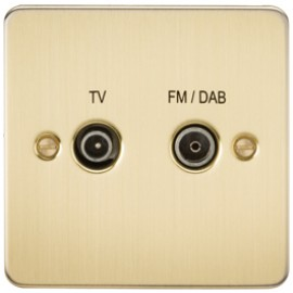 Knightsbridge FP0160BB 1G TV/FM DAB Screened Duplex Outlet Brushed Brass