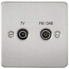 Knightsbridge FP0160BC 1G TV/FM DAB Screened Duplex Outlet Brushed Chrome