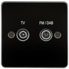 Knightsbridge FP0160GM 1G TV/FM DAB Screened Duplex Outlet Gunmetal