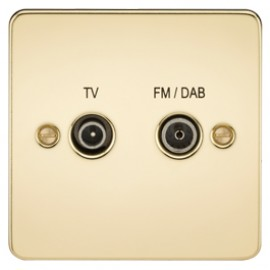 Knightsbridge FP0160PB 1G TV/FM DAB Screened Duplex Outlet Polished Brass